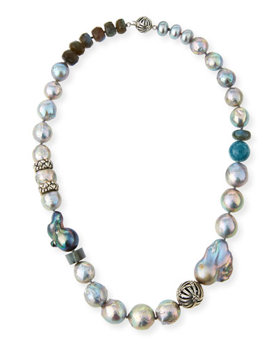 Pearl & Labradorite Beaded Necklace