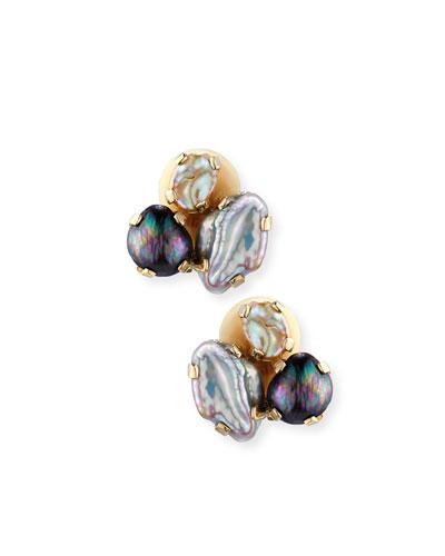 Baroque Pearl Cluster Earrings