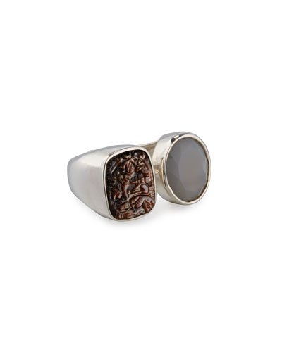 Carved Mother-of-Pearl & Moonstone Ring, Gray