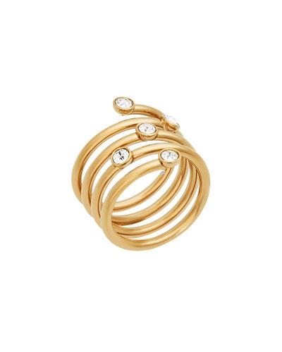 Golden Crystal Bezel Coil Ring