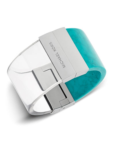 Hinged Wide Cuff Bracelet, Clear/Turquoise