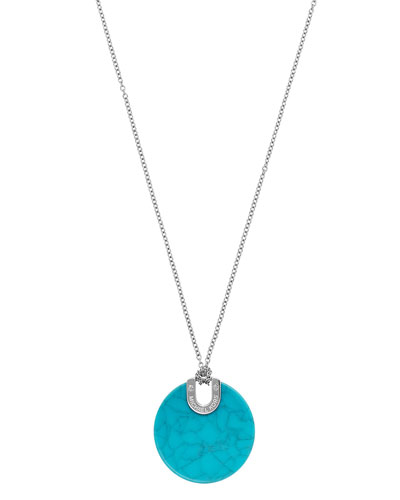 Round Disc Pendant Necklace, Turquoise