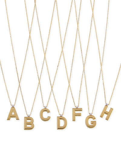 Princess 18K Yellow Gold Diamond Initial Necklace