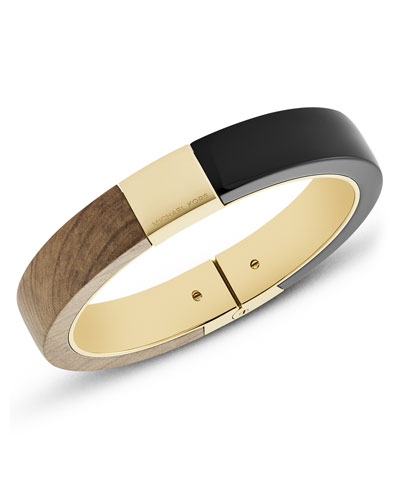 Wooden Hinged Bracelet, Black