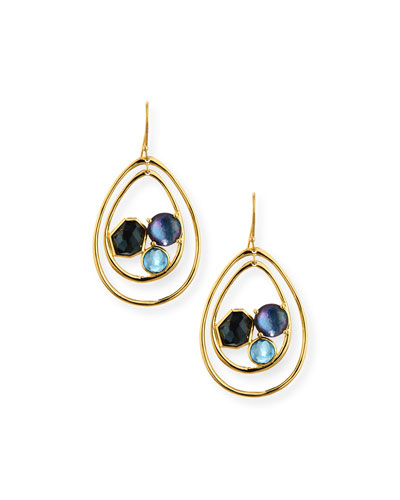 18K Rock Candy Double-Wire Mixed-Set Earrings in Steel Blue