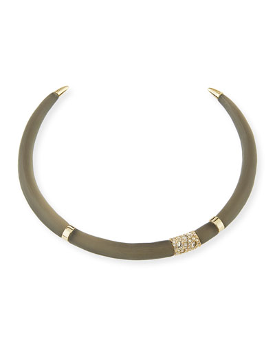 Crystal-Encrusted Lucite Collar Necklace