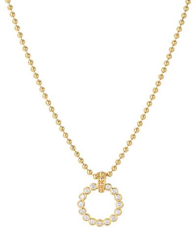 Covet 18K Small Diamond Circle Pendant Necklace