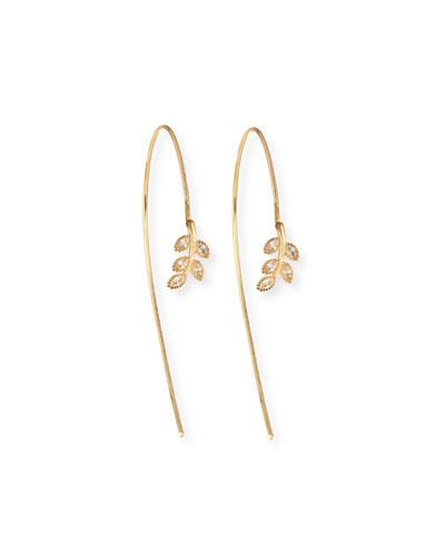 14k Gold-Plated Crystal Leaf Threader Earrings