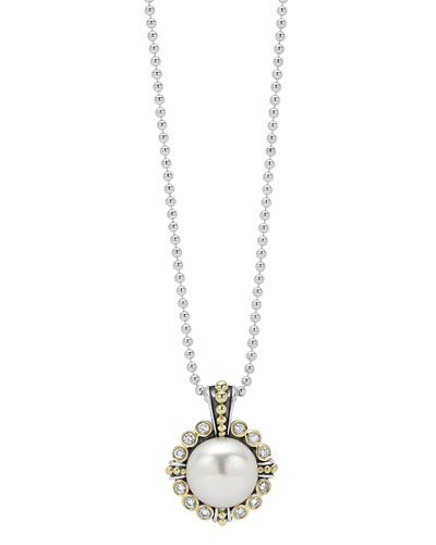 Luna 10mm Pearl & Diamond Pendant Necklace