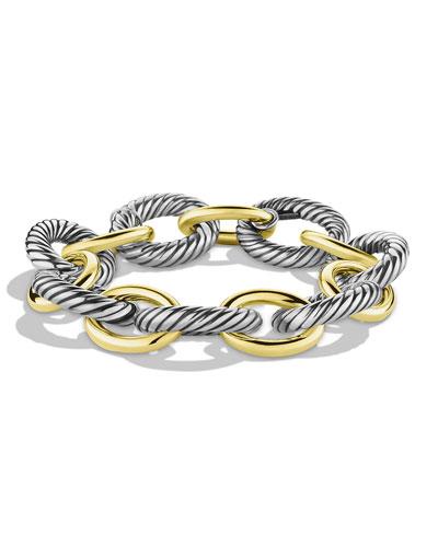 XL Sterling Silver & 14K Gold Bracelet