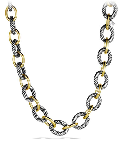 XL Sterling Silver & 18K Gold Link Necklace, 17