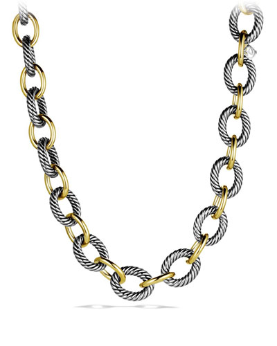 XL Sterling Silver & 18K Gold Link Necklace, 18.5