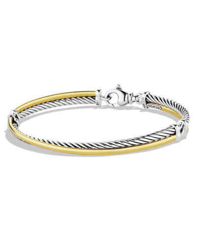 3mm Sterling Silver & Gold Bangle