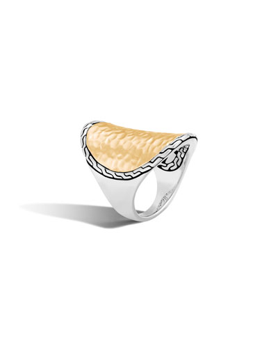 Classic Chain Gold & Silver Oval Ring, Size 7