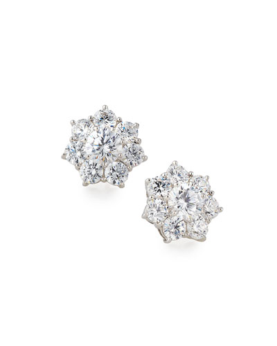 Flower CZ Crystal Stud Earrings