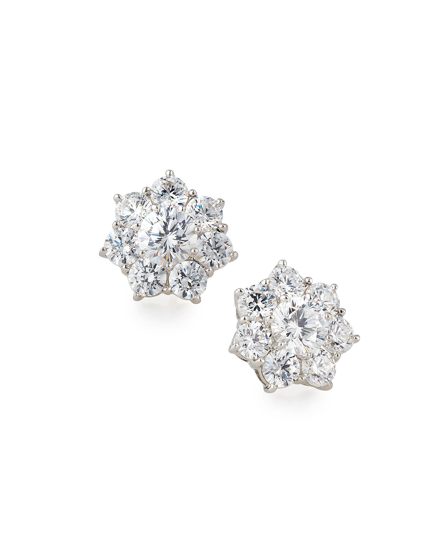 Flower CZ Crystal Stud Earrings
