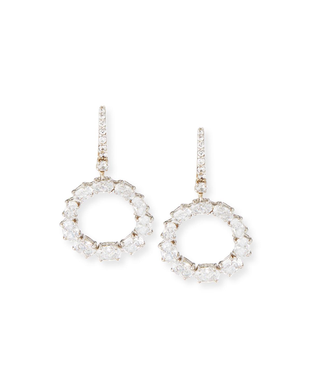 Open Circle CZ Crystal Drop Earrings