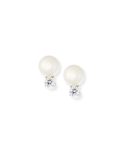 10mm Pearly Bead & Crystal Stud Earrings