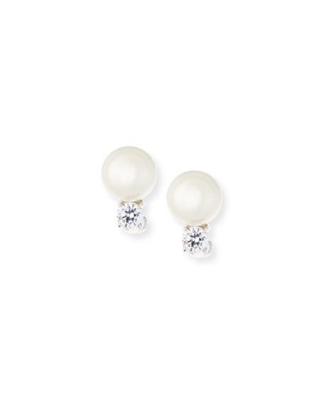 Fantasia by DeSerio 10mm Pearly Bead & Crystal Stud Earrings