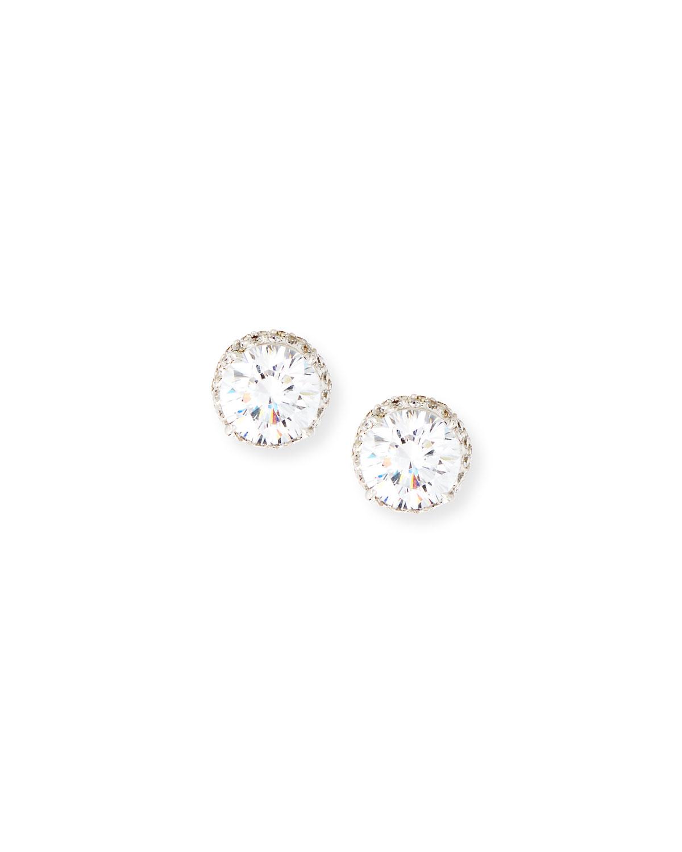 Pave CZ Crystal Stud Earrings