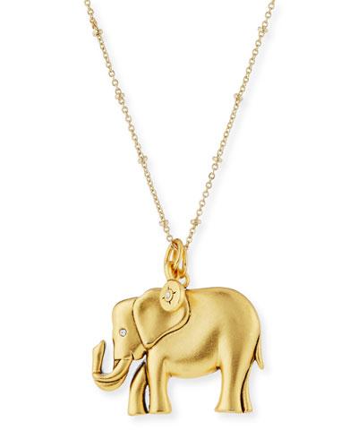 Oversize Elephant Talisman Necklace, 32
