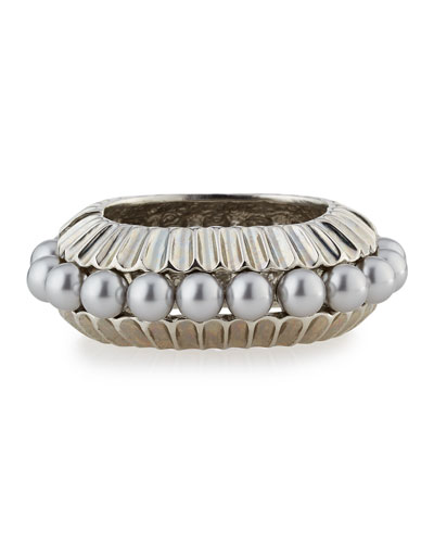 Bold Pearly Bangle Bracelet