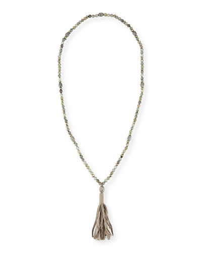 Emelia Long Beaded Tassel Necklace, Gray
