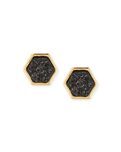 Tempeste Druzy Hexagon Stud Earrings