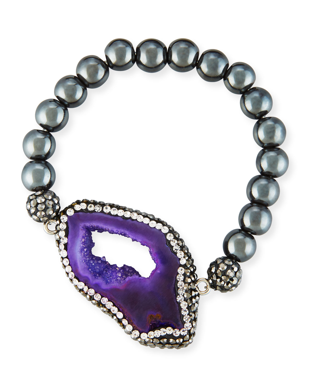Nolia Sliced Agate Bracelet, Hematite