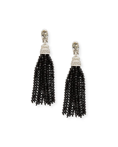 Long Beaded Crystal Tassel Clip Earrings, Black