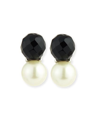 Faceted Crystal & Simulated Pearl Earrings, Black/White