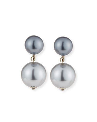 Gray Simulated Pearl Double-Drop Earrings