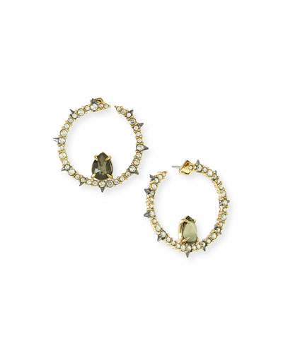Crystal & Pyrite Hoop Earrings