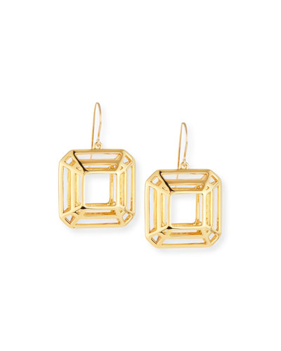 Princess-Cut Cage Drop Earrings