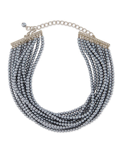 Multi-Strand Gray Simulated Pearl Choker Necklace