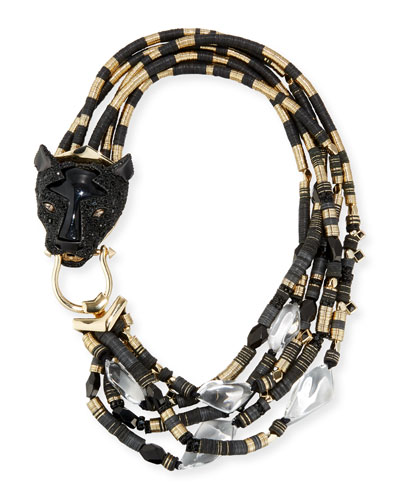 Beaded Multi-Strand Panther Necklace, Black