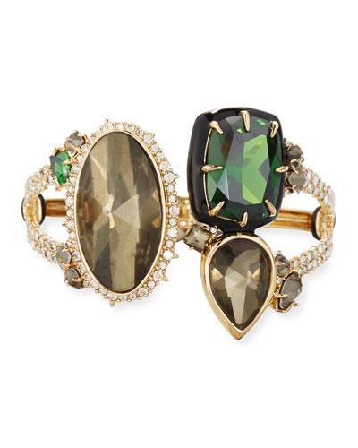 Pyrite & Emerald Cubic Zirconia Statement Cuff Bracelet