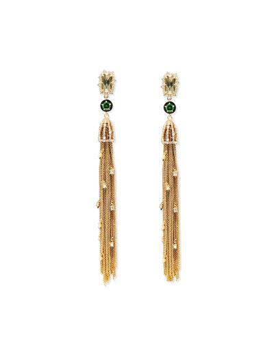 Cascading Golden Tassel Clip-On Earrings