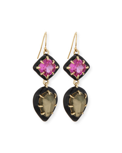 Pyrite Doublet & Ruby Corundum Earrings