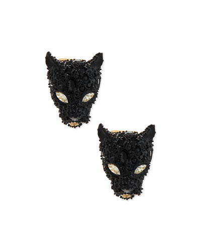 Crystal Panther Post Earrings, Black