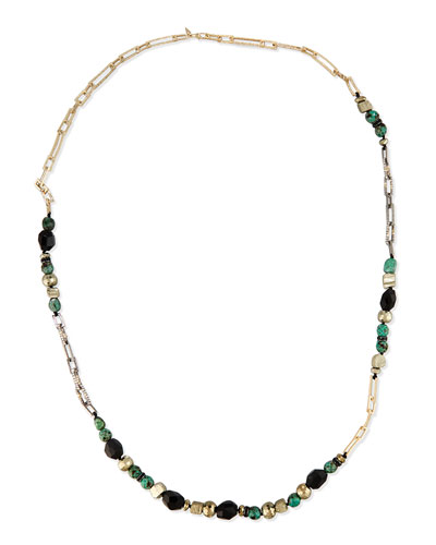Long Crystal Chain Link Necklace, Green/Black
