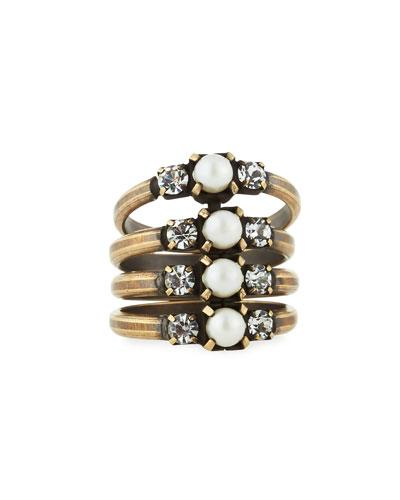 Bronson Stacked Midi Ring, Size 4