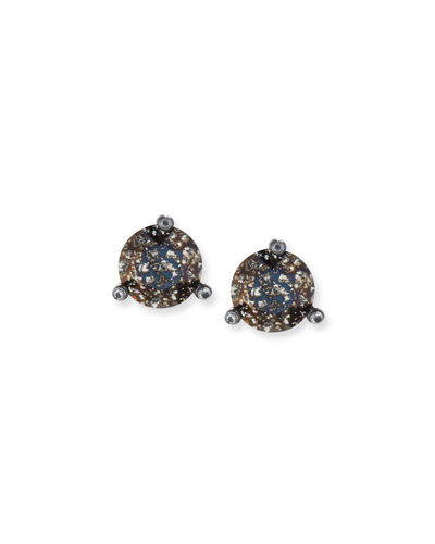 14k black gold-plated stud earrings, black patina