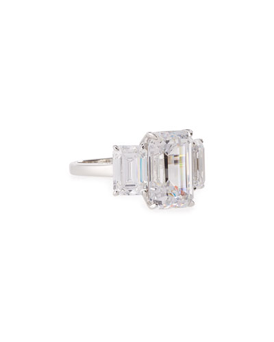 Three-Stone Emerald-Cut Cubic Zirconia Crystal Ring