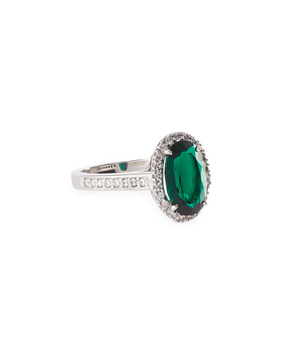 Emerald Cubic Zirconia Oval Ring