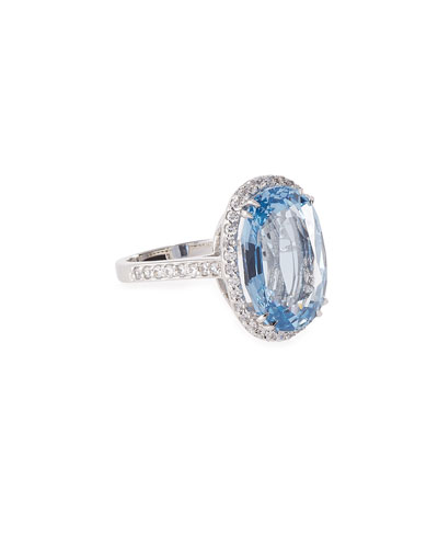 Oval Aqua Cubic Zirconia Ring