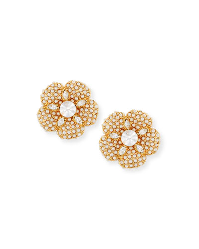 pearly golden crystal flower statement stud earrings