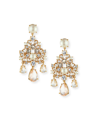 pearly chandelier statement earrings