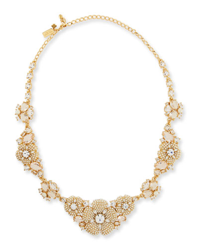 pearly golden crystal flower statement necklace
