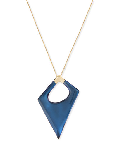 Asymmetric Statement Pendant Necklace, Blue Velvet